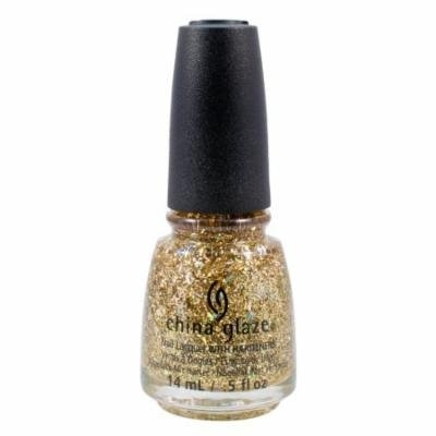 China Glaze 0.5oz Nail Polish Lacquer Clay Gold Glitter, DE-LIGHT, 1348