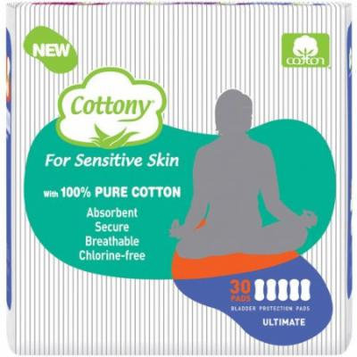 Cottony Ultimate Incontinence Pads, 30 count