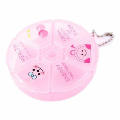 Portable Pink 6 Cell Round Medicine Pill Storage Case Tablet Box Holder