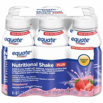 Equate Strawberry Nutritional Shake Plus, 8 fl oz, 6 count