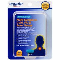 Equate Maximum Strength Multi-Symptom Cold, Flu & Sore Throat Relief Caplets, 30 count