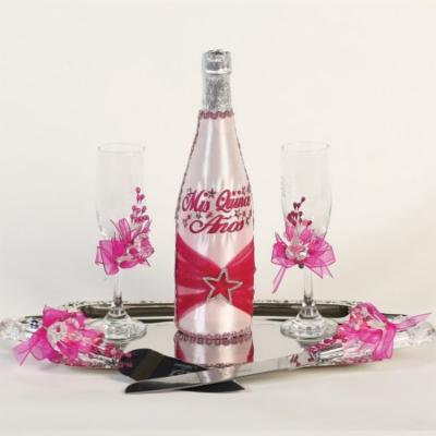 Angels Garment Pink Red 5 pcs Mis Quince Anos Champagne Set