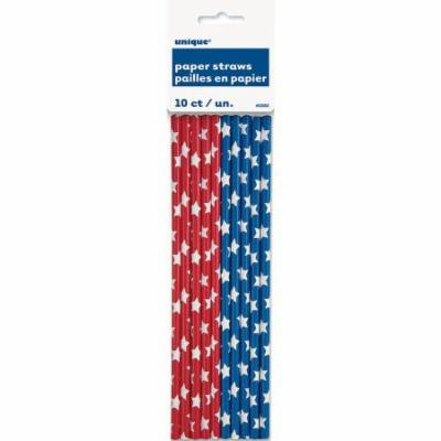 Red and Blue Stars Patriotic Paper Straws, 10-Count