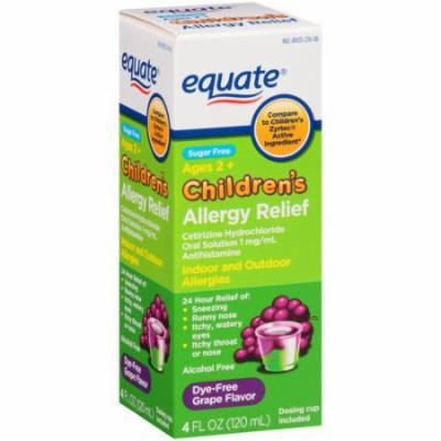 Equate Sugar Free Children's Grape Flavor Allergy Relief Liquid, 4 fl oz