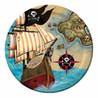 Club Pack of 96 Pirate's Map Disposable Paper Lunch Plates 7