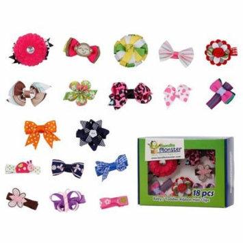 Bundle Monster 18pc Ribbon Bow Flower Mixed Design Baby Girl Toddler Hair Clip