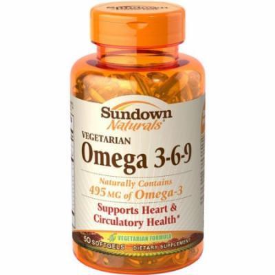 Sundown Naturals Vegetarian Omega 3-6-9 Dietary Supplement Softgels, 50 count