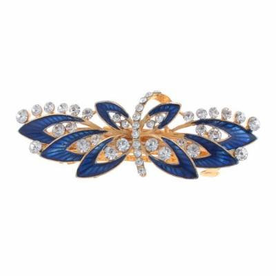 Woman Royal Blue Flower Decor Metal Barrette Hairclip French Clip Gold Tone