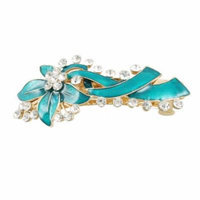 Rhinestone Accent Turquoise Green Leaves Detail Hair Clip Barrette for Ladies