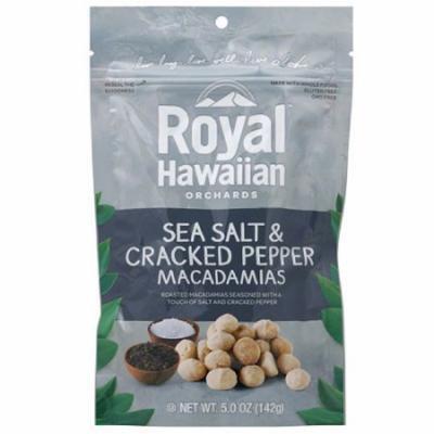 Royal Hawaiian Orchards Sea Salt & Cracked Pepper Macadamias, 5 oz, (Pack of 6)