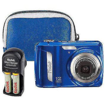 Kodak Easyshare C143 Blue 12MP Digital Camera Bundle with (2) Rechargeable Batteries, Wall Charger & Matching Case