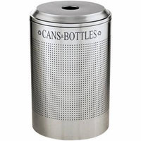 Rubbermaid Commercial Silhouette Round Steel Can/Bottle Recycling Receptacle, 69 gallon, Silver