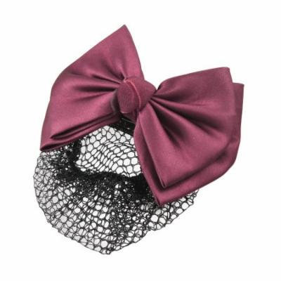 Burgundy Two Layer Bow Snood Net Metal Barrette Hair Clip for Woman