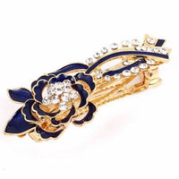Rhinestone Accent Blue Floral Design Hair Clip Barrette for Ladies