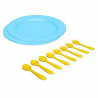 Green Eats Large Plates with Feeding Spoons & Forks, Blue/Yellow