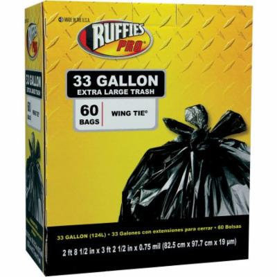Ruffies Pro Extra Large Wing Tie Black Trash Bags, 33 gal, 60 count