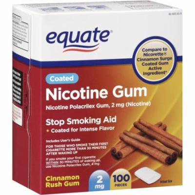 Equate Cinnamon Rush Nicotine Gum 2mg, 100ct