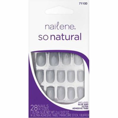 Nailene So Natural Light Gray High Gloss Glue-On Nails Set, 45 pc