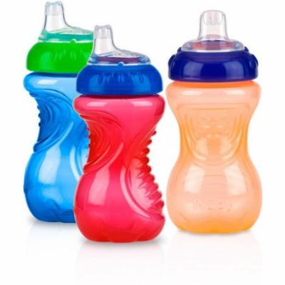 Nuby 3-Pack 10-oz No-Spill Gripper Cup with Soft Silicone Spout, Neutral, BPA-Free