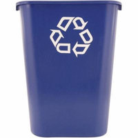 Rubbermaid Commercial Rectangular Plastic Deskside Recycle Container with Symbol, 41.25 quart, Blue