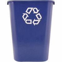 Rubbermaid Commercial Rectangular Plastic Deskside Recycle Container with Symbol, 41.25 quart, Blue