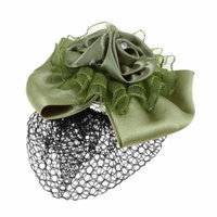 Ladies Hair Ornament Flower Designed Silver Tone Metal Hair Clip Green