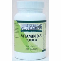 Vitamin D-3 2,000 IU American Supplements 250 Softgel