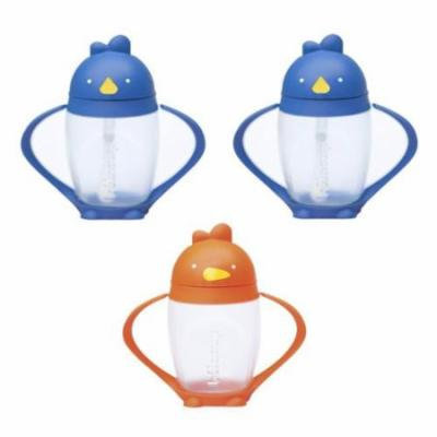 Lollacup Infant And Toddler Straw Cup, 3 Pack - Blue/Orange/Blue