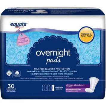 Equate Overnight Ultimate Extra Protection Incontinence Pads, 30 count