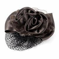 Dark Brown Rhinestones Bowtie Detail Barrette Snood Net Hair Clip for Ladies