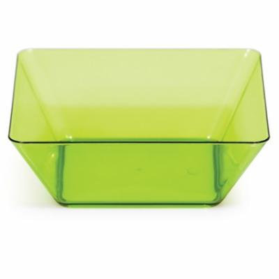Club Pack of 48 Translucent Green Plastic Square Bowl 5