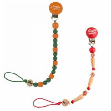Bink Link Pacifier Attacher - 2 Pack, Peas and Carrots/Red Slugger