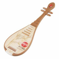 Woman Folding Bamboo Printed Lute Design Crystal Accent Make Up Mirror Brown