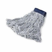 Rubbermaid Commercial Products Medium Super Stitch Finish Cotton/Synthetic Mops with 5'' Blue Headband in White