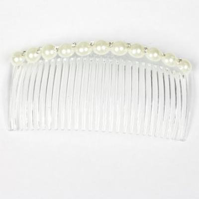 White Artificial Bead Rhinestone Decoration Hair Clip Comb for Lady