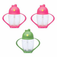 Lollacup Infant And Toddler Straw Cup, 3 Pack - Pink/Green/Pink