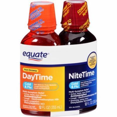 Equate DayTime/NiteTime Cold & Flu Liquid, 12 fl oz, 2 count