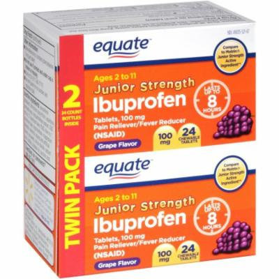 Equate Junior Strength Grape Flavor Ibuprofen Pain Reliever/Fever Reducer Chewable Tablets, 100mg, 24 count, (Pack of 2)