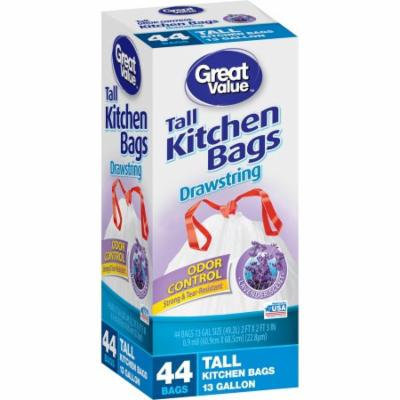 Great Value Tall Kitchen Trash Bags, 13 gal, 44 count