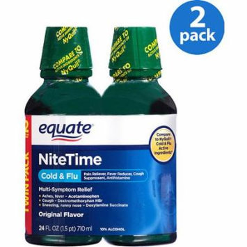 Equate Nitetime Original Flavor Cold & Flu Relief, 12 fl oz, (Pack of 2)
