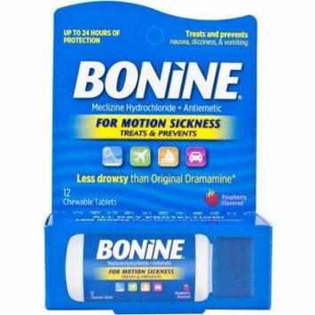 Bonine Motion Sickness Treatment Raspberry Chewable Tablets, Meclizine Hydrochloride Antiemetic, 12 count