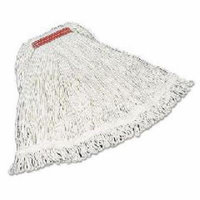 Rubbermaid Commercial Large Super Stitch Rayon Cotton/Synthetic Mop Heads, White, 6 count