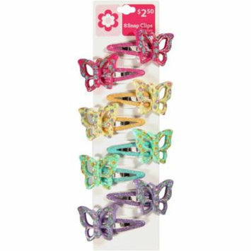Fantasia Butterfly Snap Clips, 8 count