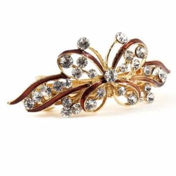 Females Wedding Party Butterfly Faux Rhinestone Hair Clip Barrette Brown
