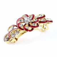 Flower Style Faux Rhinestone Inlaid Hairpin Hair Clip Barrette Red for Lady