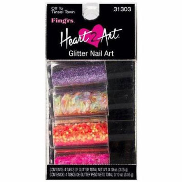 Fing'rs Heart 2 Art Glitter Nail Art, Off to Tinsel Town, 4 count, 0.10 oz