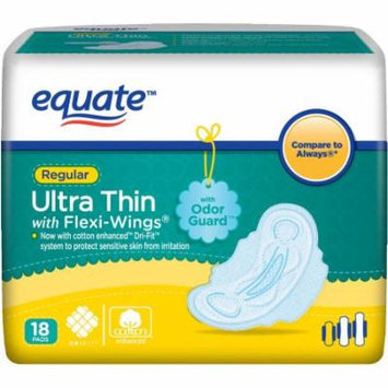 Equate Regular Ultra Thin Pads with Flexi-Wings, 18 count