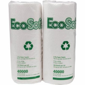 Wausau EcoSoft 11x9 Household Roll Paper Towels, White, 100 count, (Pack of 30)
