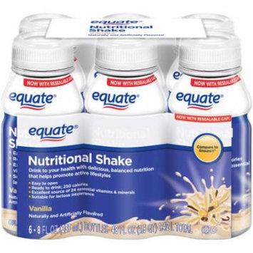 Equate Vanilla Nutritional Shake, 8 fl oz, 6 count