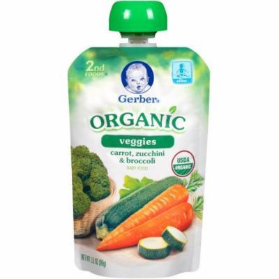 Gerber Organic 2nd Foods Veggies Carrot, Zucchini & Broccoli Baby Food, 3.5 oz, (Pack of 12)